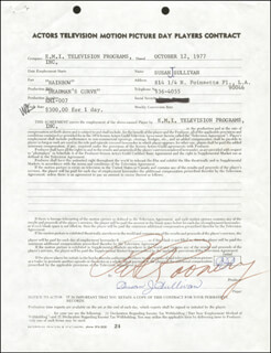 SUSAN SULLIVAN - CONTRACT SIGNED 10/12/1977 CO-SIGNED BY: PAT ROONEY