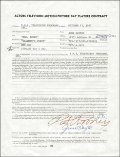 JUNE DAYTON - CONTRACT SIGNED 10/13/1977 CO-SIGNED BY: PAT ROONEY