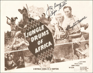 JUNGLE DRUMS OF AFRICA MOVIE CAST - INSCRIBED LOBBY CARD SIGNED CO-SIGNED BY: PHYLLIS COATES, CLAYTON THE LONE RANGER MOORE