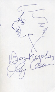 Autographs: OLEG CASSINI - SELF-CARICATURE SIGNED