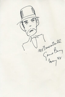 GENE BARRY - SELF-CARICATURE SIGNED 05/1988