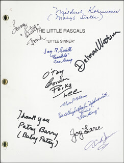 Autographs: OUR GANG TV CAST - SCRIPT SIGNED CO-SIGNED BY: DICK JONES, GORDON PORKY LEE, TOMMY BUTCH BOND, PATSY BABY PATSY BARRY, JOY LANE, DOROTHY DE BORBA, JAY R. SMITH, DELMAR WATSON, MILDRED KORNMAN