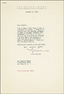 NORMA SHEARER - TYPED LETTER SIGNED 10/14/1940