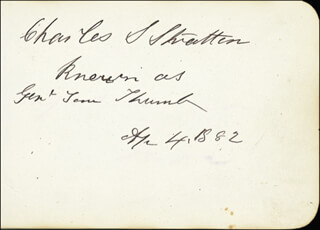 CHARLES S. TOM THUMB STRATTON - AUTOGRAPH 04/04/1882