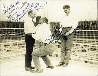 JACK DEMPSEY - AUTOGRAPHED INSCRIBED PHOTOGRAPH CO-SIGNED BY: JOHNNY COULON