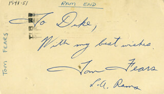 TOM FEARS - INSCRIBED POST CARD SIGNED