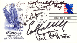 HEISMAN TROPHY WINNERS - FIRST DAY COVER SIGNED CO-SIGNED BY: EARL CAMPBELL, HERSCHEL WALKER, JOHNNY LUJACK, JOHN CAPPELLETTI, ARCHIE GRIFFIN, JOHN HUARTE