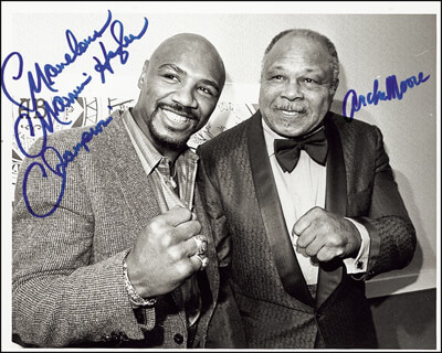 ARCHIE MOORE - AUTOGRAPHED SIGNED PHOTOGRAPH CIRCA 1994 CO-SIGNED BY: MARVELOUS MARVIN HAGLER