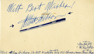 Autographs: ALTHEA GIBSON - POST CARD SIGNED CIRCA 1958