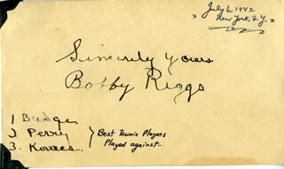BOBBY RIGGS - POST CARD SIGNED CIRCA 1942