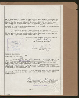 Autographs: DAN DAILEY - DOCUMENT SIGNED 08/29/1946 CO-SIGNED BY: LEW SCHREIBER