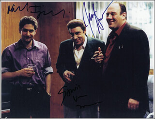 THE SOPRANOS TV CAST - AUTOGRAPHED SIGNED PHOTOGRAPH CO-SIGNED BY: JAMES GANDOLFINI, MICHAEL IMPERIOLI, STEVEN VAN ZANDT