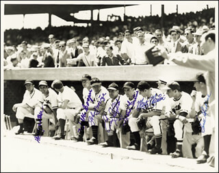 Autographs: NATIONAL LEAGUE ALL-STARS - PHOTOGRAPH SIGNED CO-SIGNED BY: WALKER WALK COOPER, MARTY THE OCTOPUS MARION, EWELL BLACKWELL, JOHNNY MIZE, ENOS SLAUGHTER, HARRY THE HAT WALKER, FRANKIE GUSTINE