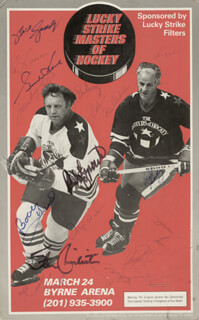 GORDIE HOWE - AUTOGRAPHED SIGNED POSTER CO-SIGNED BY: PHIL ESPOSITO, BOBBY THE GOLDEN JET HULL, EDDIE FAST EDDIE GIACOMIN, BOBBY ORR, HARRY HOWELL, JEAN GUY TALBOT, GARY BERGMAN, DON AWREY