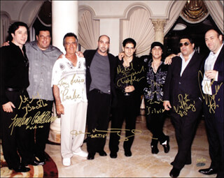 Autographs: THE SOPRANOS TV CAST - PHOTOGRAPH SIGNED CO-SIGNED BY: JAMES GANDOLFINI, MICHAEL IMPERIOLI, STEVEN VAN ZANDT, TONY SIRICO, VINCENT PASTORE, STEVE SCHIRRIPA, FEDERICO CASTELLUCCIO, JOHN VENTIMIGLIA