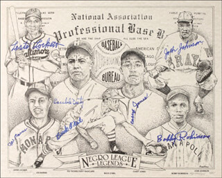 Autographs: NEGRO BASEBALL LEAGUE - PRINTED ART SIGNED CO-SIGNED BY: BUCK (JOHN) O'NEIL, LESTER LOCKETT, JOE BARNES, TED DOUBLE DUTY RADCLIFFE, JOSH JOHNSON, CASEY JONES, BOBBY ROBINSON, R. MICHAEL ARMSTRONG