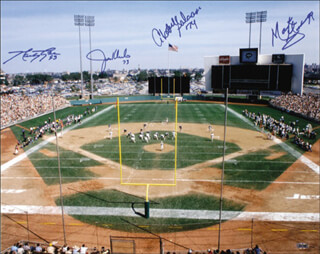 NEW YORK JETS - AUTOGRAPHED SIGNED PHOTOGRAPH CO-SIGNED BY: MARTY LYONS, JOE KLECKO, ABDUL SALAAM, MARK GASTINEAU