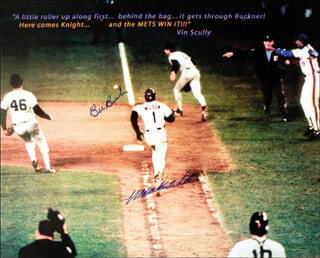 BILL BILLY BUCKS BUCKNER - AUTOGRAPHED SIGNED PHOTOGRAPH CO-SIGNED BY: MOOKIE WILSON