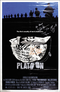 PLATOON MOVIE CAST - ORIGINAL ONE-SHEET SIGNED CO-SIGNED BY: CHARLIE SHEEN, WILLEM DAFOE, OLIVER STONE, TOM BERENGER