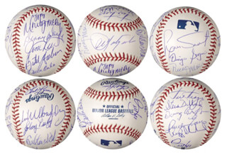 BOSTON RED SOX - BASEBALL SIGNED CIRCA 1975 CO-SIGNED BY: CARLTON PUDGE FISK, DWIGHT DEWEY EVANS, FRED LYNN, BERNIE CARBO, DENNY DOYLE, STEVE DILLARD, JOHNNY PESKY, JIM RICE, REGGIE CLEVELAND, DICK DRAGO, CARL YAZ YASTRZEMSKI, BILL SPACEMAN LEE, BOB MONTGOMERY, RICK WISE, DIEGO PABLO SEGUI, LUIS TIANT JR., JIM WILLOUGHBY, BUTCH HOBSON
