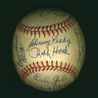BOSTON RED SOX - AUTOGRAPHED SIGNED BASEBALL CIRCA 1984 CO-SIGNED BY: DWIGHT DEWEY EVANS, MIKE EASLER, WADE BOGGS, ROGER CLEMENS, RICH GALE, RALPH HOUK, GLENN EDWARD HOFFMAN, BRUCE VEE HURST, RICH GEDMAN, BILL BILLY BUCKS BUCKNER, JOHNNY PESKY, JIM RICE, JOHN HENRY (BASEBALL) JOHNSON, REID NICHOLS, JACKIE GUTIERREZ, AL NIPPER, MARC SULLIVAN