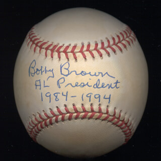 BOBBY BROWN - ANNOTATED BASEBALL SIGNED
