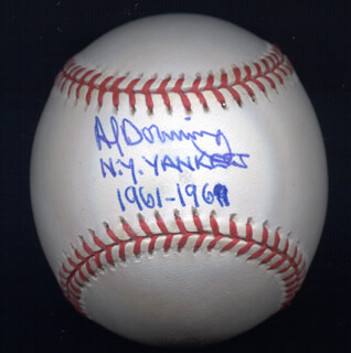 AL LITTLE AL DOWNING - ANNOTATED BASEBALL SIGNED