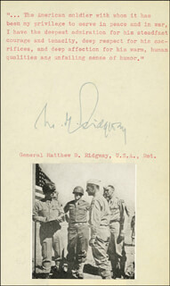 GENERAL MATTHEW B. RIDGWAY - TYPED QUOTATION SIGNED
