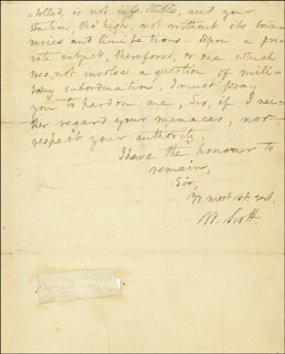 LT. GENERAL WINFIELD SCOTT - AUTOGRAPH LETTER SIGNED 07/21/1812
