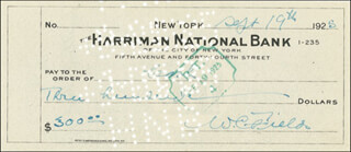 W. C. FIELDS - AUTOGRAPHED SIGNED CHECK 09/19/1925