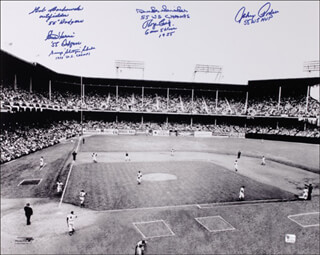 THE BROOKLYN DODGERS - AUTOGRAPHED SIGNED PHOTOGRAPH CO-SIGNED BY: JOHNNY PODRES, GEORGE SHOTGUN SHUBA, CLEM LABINE, ROGER CRAIG, DUKE SNIDER, BOB BORKOWSKI