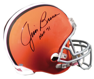 Autographs: JIM BROWN - HELMET SIGNED