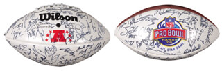 NFL ALL STAR PROBOWL - FOOTBALL SIGNED CIRCA 2005 CO-SIGNED BY: PEYTON MANNING, LADAINIAN TOMLINSON, CURTIS MARTIN, TROY POLAMALU, SHAWN MERRIMAN, CHAMP BAILEY, DWIGHT FREENEY, MARVIN HARRISON, ROD SMITH, CHAD JOHNSON, JONATHAN OGDEN, TONY GONZALEZ, EDGERRIN JAMES, TOM BRADY, DONOVAN MCNABB