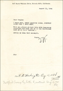 JEROME KERN - TYPED LETTER SIGNED 08/11/1944