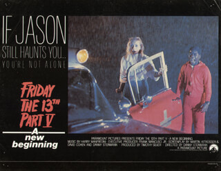 FRIDAY THE 13 PART V MOVIE CAST - LOBBY CARD UNSIGNED (USA) 1985