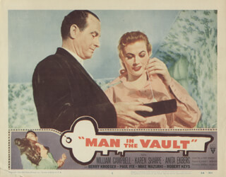 MAN IN THE VAULT MOVIE CAST - LOBBY CARD UNSIGNED (USA) 1956