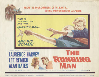 THE RUNNING MAN MOVIE CAST - LOBBY CARD UNSIGNED (USA) 1963
