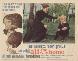 Autographs: ALL THE WAY HOME MOVIE CAST - LOBBY CARD UNSIGNED (USA) 1963