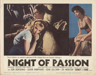 NIGHT OF PASSION MOVIE CAST - LOBBY CARD UNSIGNED (USA) 1962