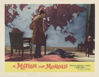 Autographs: A MATTER OF MORALS MOVIE CAST - LOBBY CARD UNSIGNED (USA) 1960