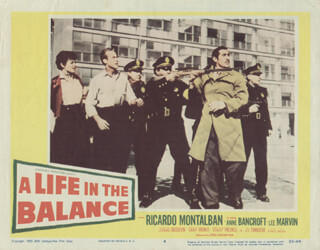 A LIFE IN THE BALANCE MOVIE CAST - LOBBY CARD UNSIGNED (USA) 1955