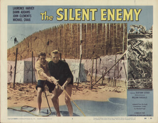 THE SILENT ENEMY MOVIE CAST - LOBBY CARD UNSIGNED (USA) 1958