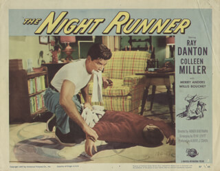 NIGHT RUNNER MOVIE CAST - LOBBY CARD UNSIGNED (USA) 1957