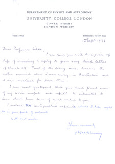 SIR HARRIE MASSEY - AUTOGRAPH LETTER SIGNED 09/12/1978