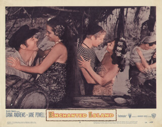 ENCHANTED ISLAND MOVIE CAST - LOBBY CARD UNSIGNED (USA) 1958