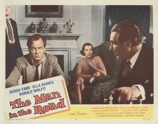 THE MAN IN THE ROAD MOVIE CAST - LOBBY CARD UNSIGNED (USA) 1957