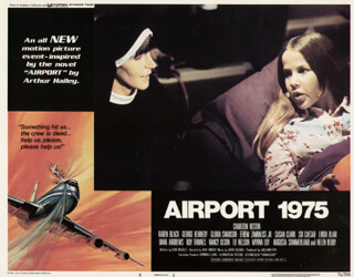 Autographs: AIRPORT 1975 MOVIE CAST - LOBBY CARD UNSIGNED (USA) 1974