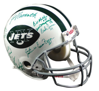 NEW YORK JETS - HELMET SIGNED 1969 CO-SIGNED BY: JOHN SCHMITT, JOE NAMATH, JOHN ELLIOTT, DON MAYNARD, EMERSON BOOZER, RALPH BAKER, MATT SNELL, BILL MATHIS, BAKE TURNER, CURLEY JOHNSON, DAVE HERMAN, AL ATKINSON, BILL BAIRD, JIM HUDSON, RANDY BEVERLY, LARRY GRANTHAM, JIM TURNER, BOB TALAMINI, CARL MCADAMS, PAUL ROCHESTER, WINSTON HILL, PETE LAMMONS, CORNELL GORDON, RANDY RASMUSSEN