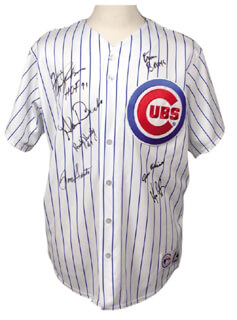 THE CHICAGO CUBS - JERSEY SIGNED CO-SIGNED BY: RON SANTO, RANDY HUNDLEY, ERNIE MR. CUB BANKS, GLENN BECKERT, KEN RUDOLPH, FERGUSON JENKINS, GENE OLIVER