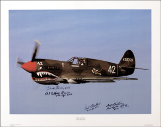 FLYING TIGERS - AUTOGRAPHED SIGNED PHOTOGRAPH CO-SIGNED BY: CAPTAIN ERIKSEN ERIK SHILLING, JOHN RICHARD DICK ROSSI, ROBERT JAMES CATFISH RAINE, LEO PAUL CLOUTHIER